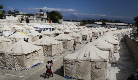 Emergency tents provided by Islamic Relief in Haiti.